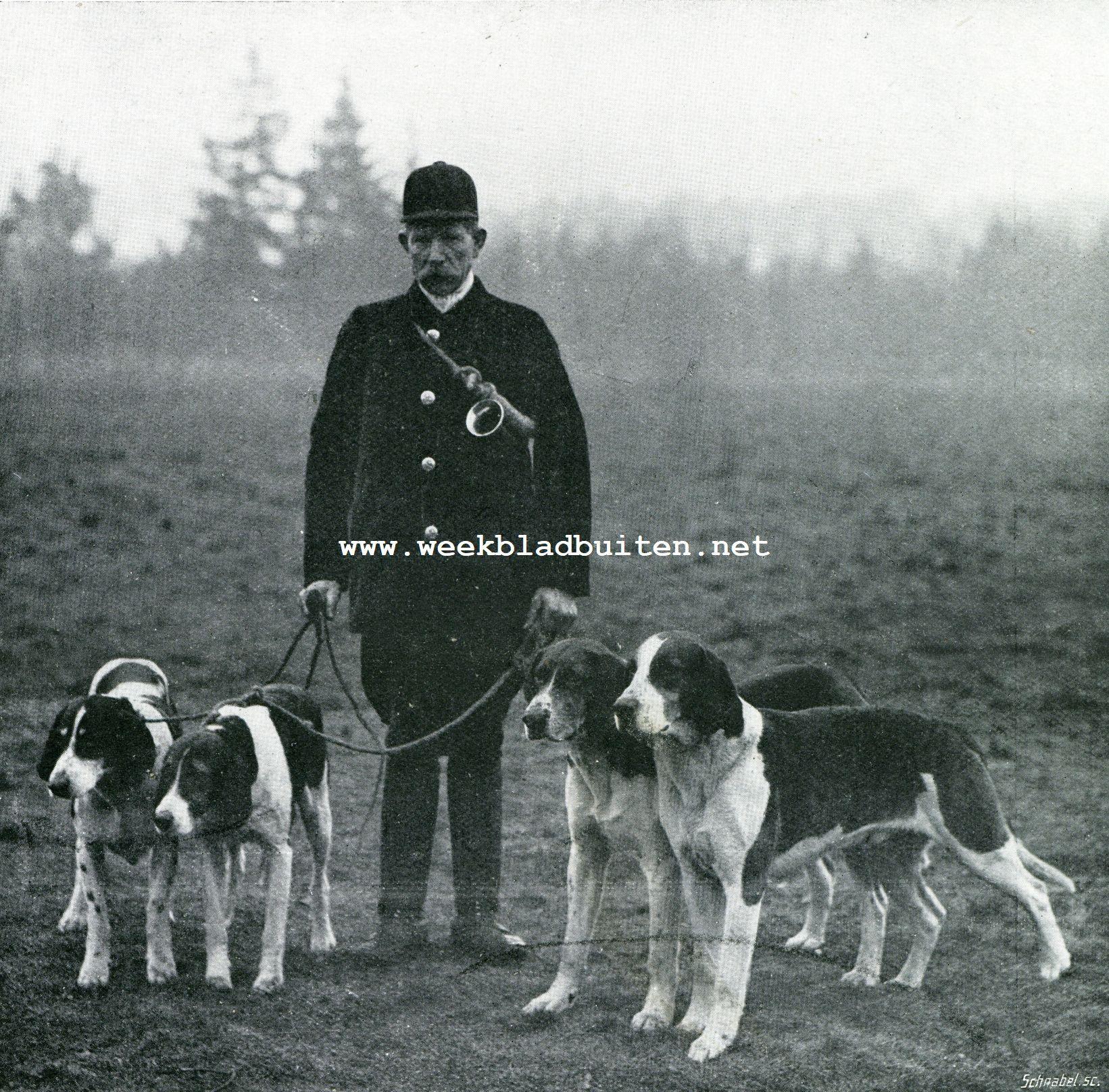 Hertenjacht. G. Blom. Valet de chiens met vier der beste honden van het
