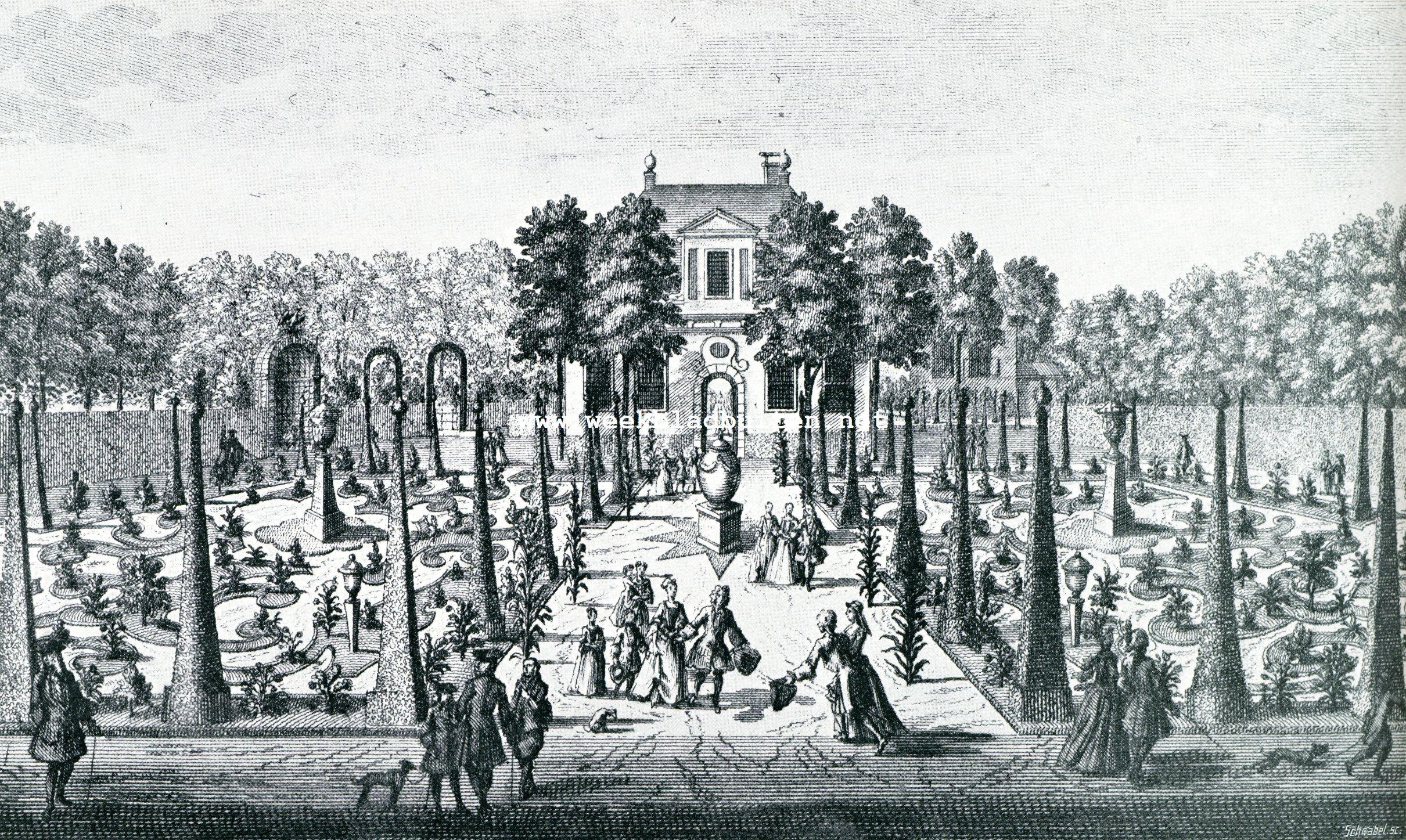 Een praatje over tuinkunst en nog wat. De bloemperken in de hofstede van de heer van Havere. Naar eene oude gravure van Stopendael ongeveer 1725