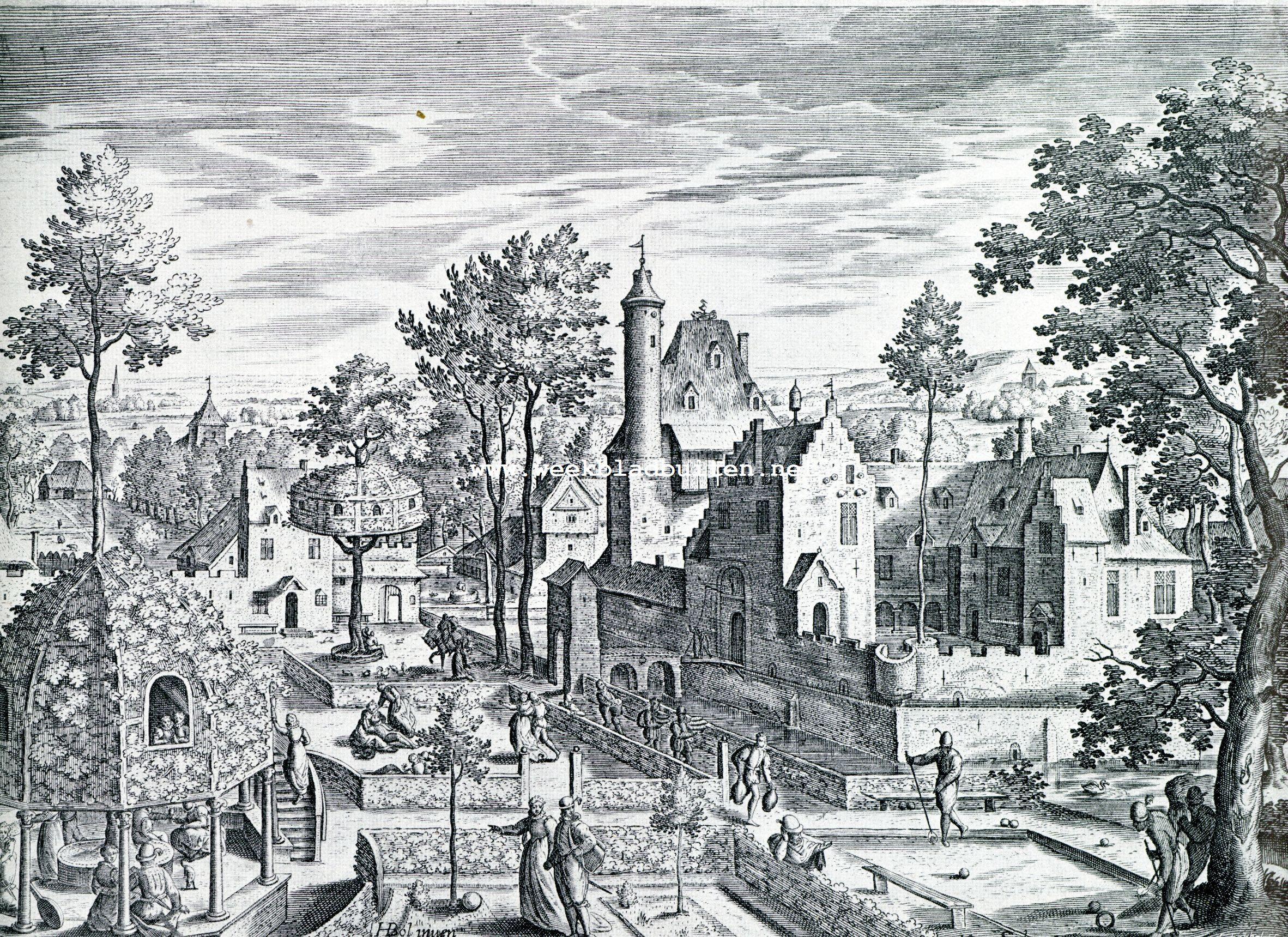 Een praatje over tuinkunst en nog wat. Het buitenleven omstreeks 1600. Naar eene gravure van Johan Sael, naar eene teekening van Hans Bol (einde 1500-begin 1600)