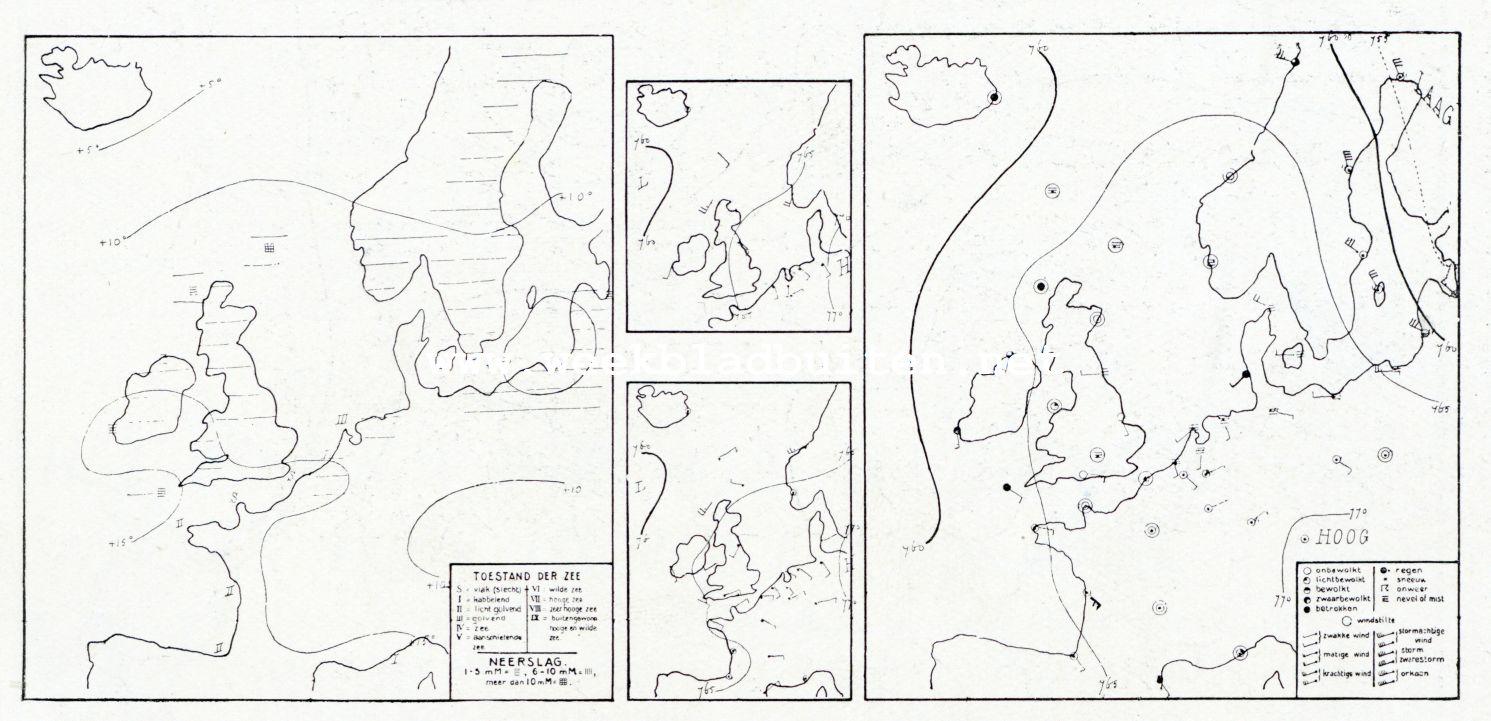Weerkaartje van het Koninklijk Nederlandsch Meteorologisch Instituut van 2 October 1908, 8 uur v.m. De getrokken lijnen stellen voor: op het kaartje aan de rechterzijde de isobaren, lijnen van gelijke barometerstand. De kleine kaartjes geven de isobaren om 2 en 7 uur namiddag