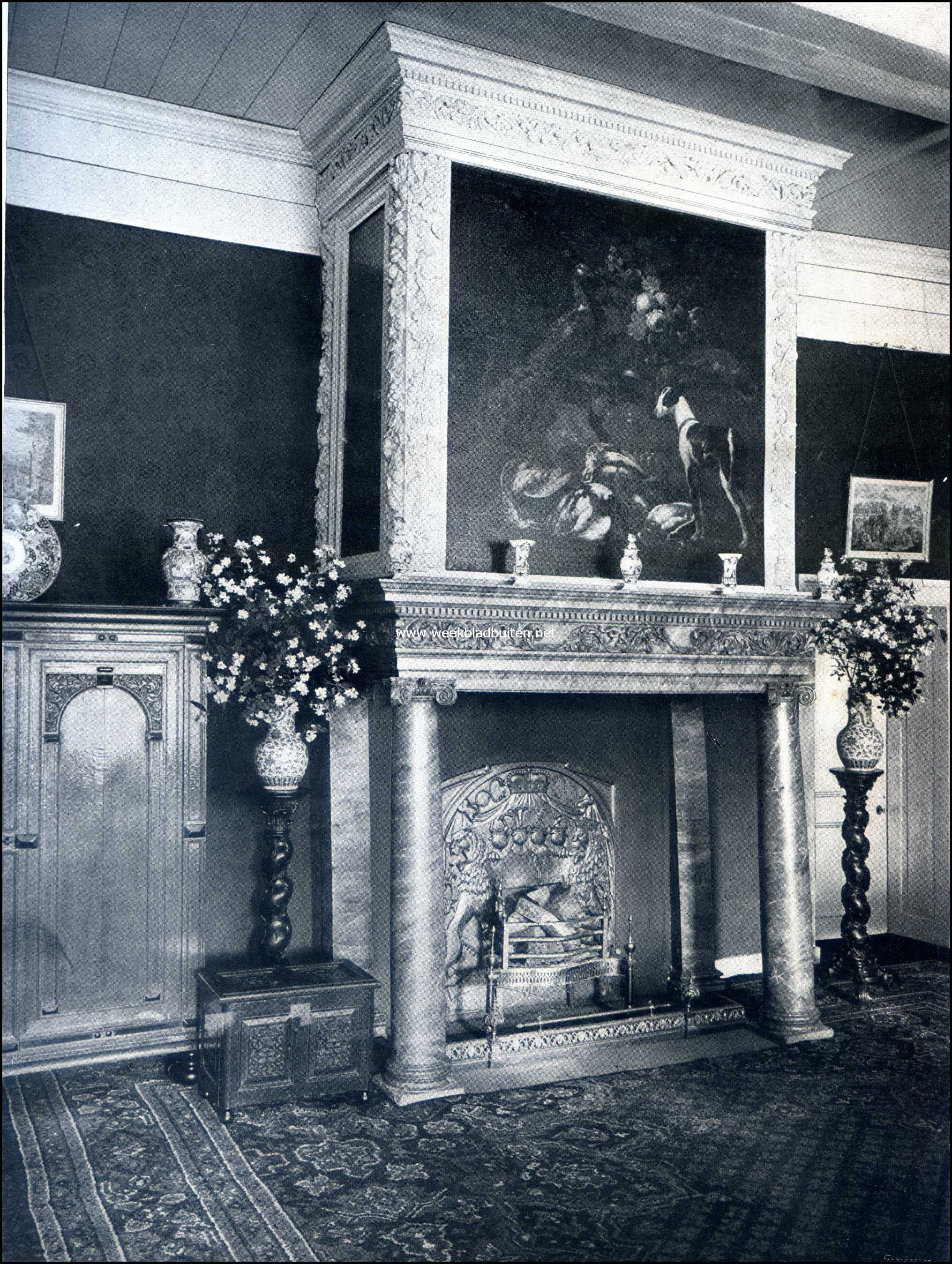 Het Kasteel Zuylestein. Schouw in de Groote Zaal op Zuylestein