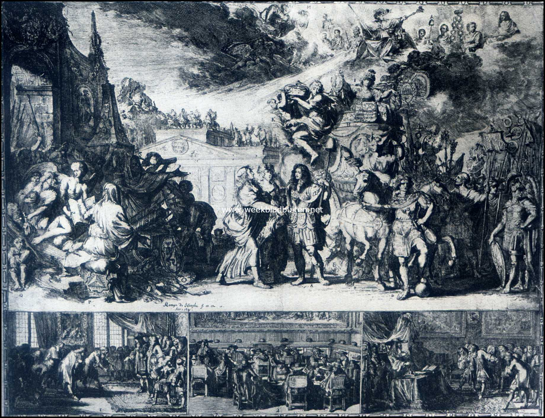 Het Kasteel Zuylestein. Een ets van Romein de Hooghe in de studeerkamer van den eigenaar van Zuylestein. (Vergelijk het fijngedrukte met onzen tekst)