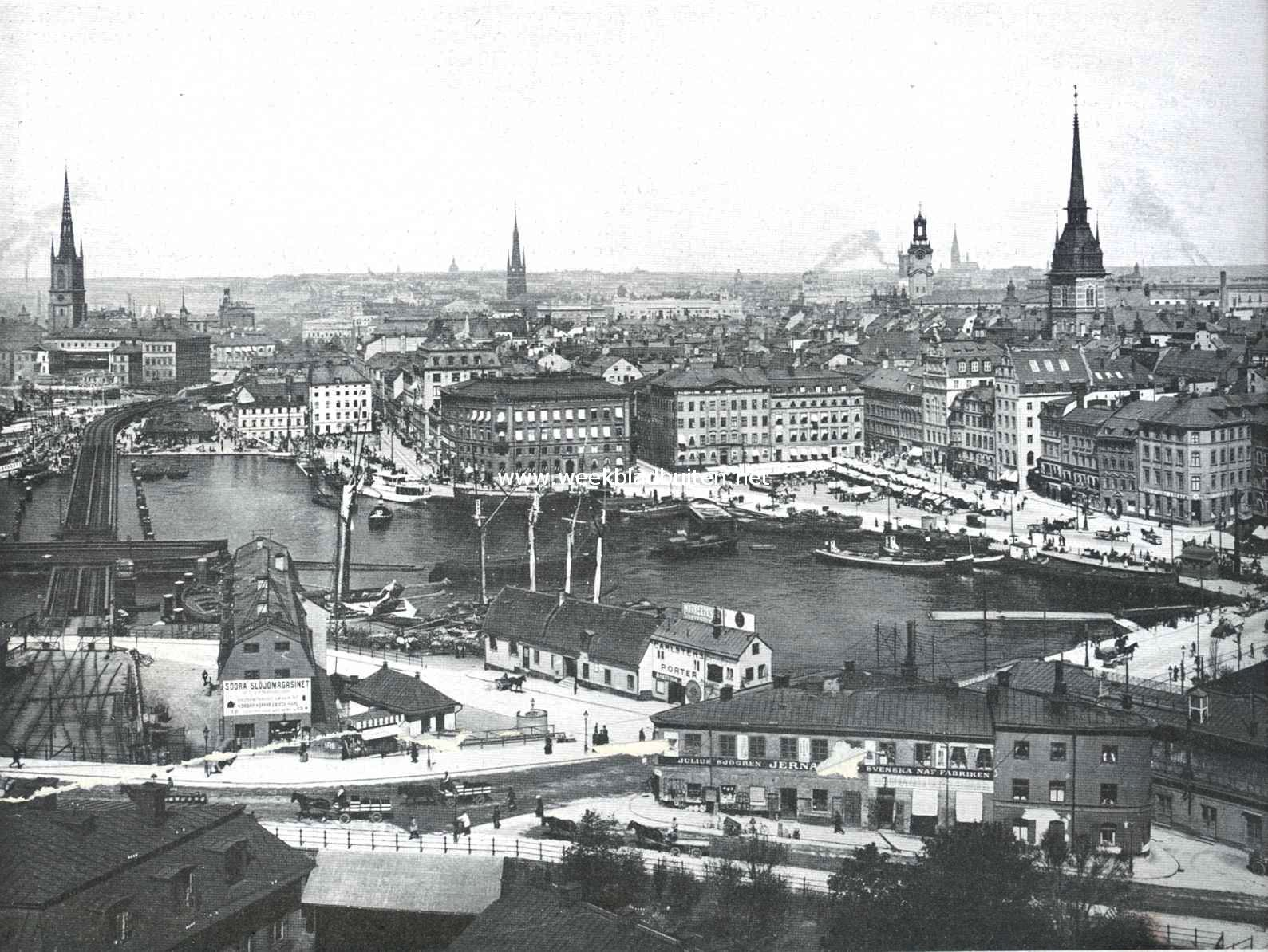Stockholm. Panorama van Stockholm bij Slüssen