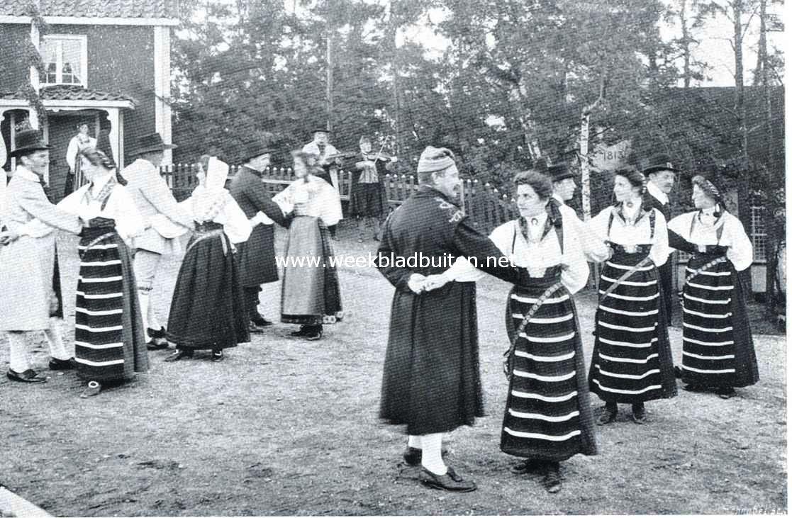 Openluchtmusea. Nationale dansen in nationale kleederdracht op Skansen