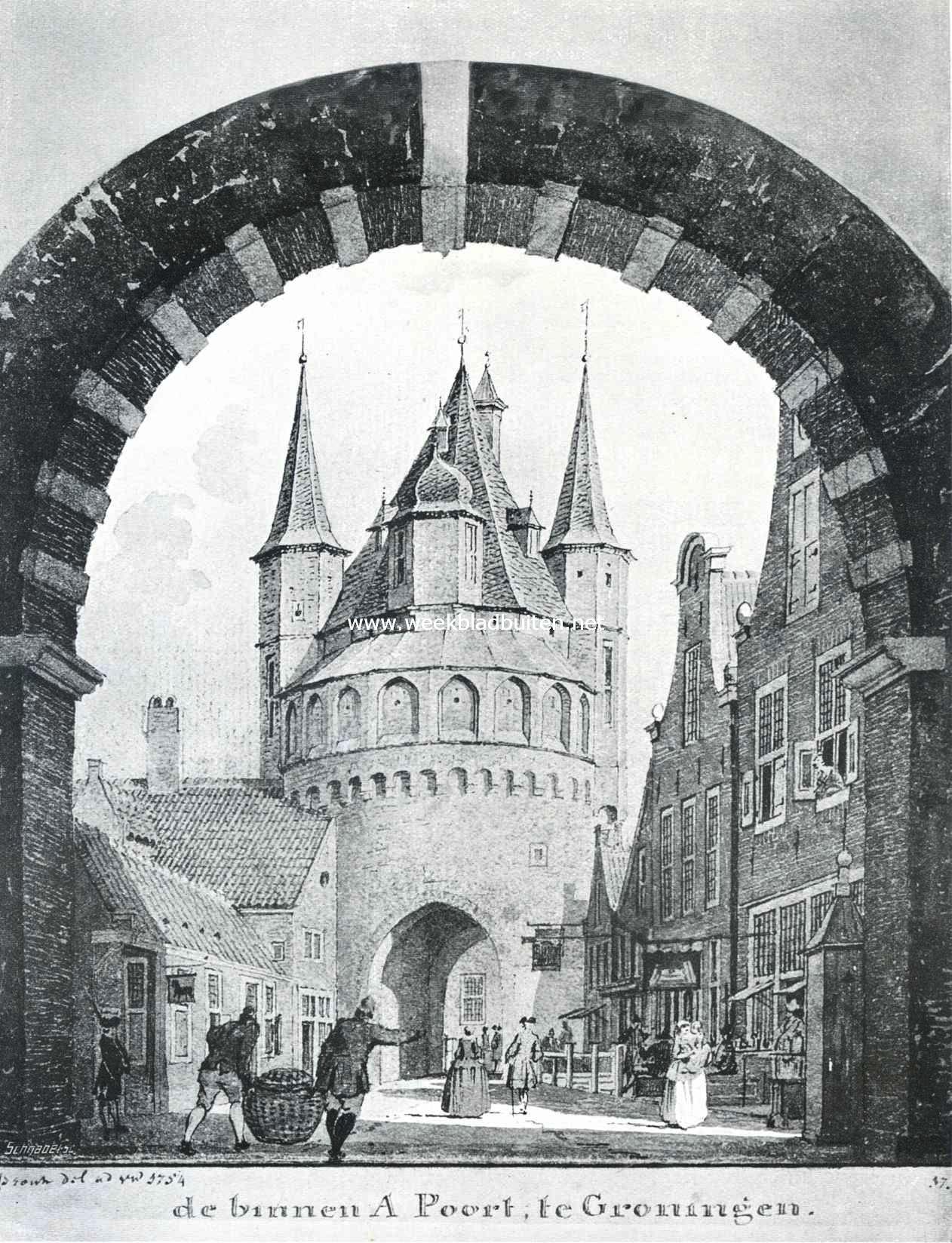 Sloopend herboren-Nederland. Gezicht op de voormalige Binnen A-poort te Groningen, gesloopt in 1828