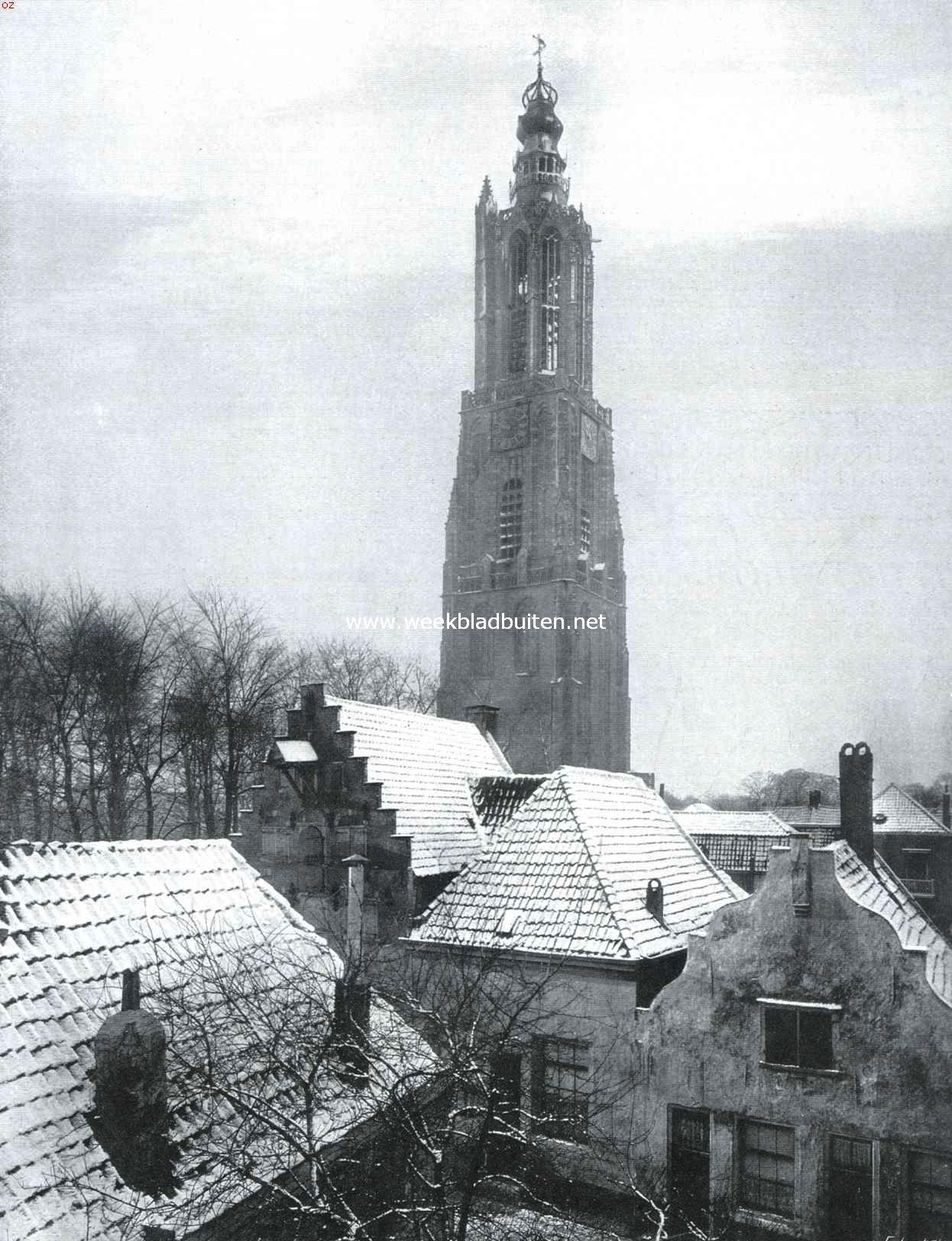 De Lieve Vrouwe-toren te Amersfoort. Als het gesneeuwd heeft