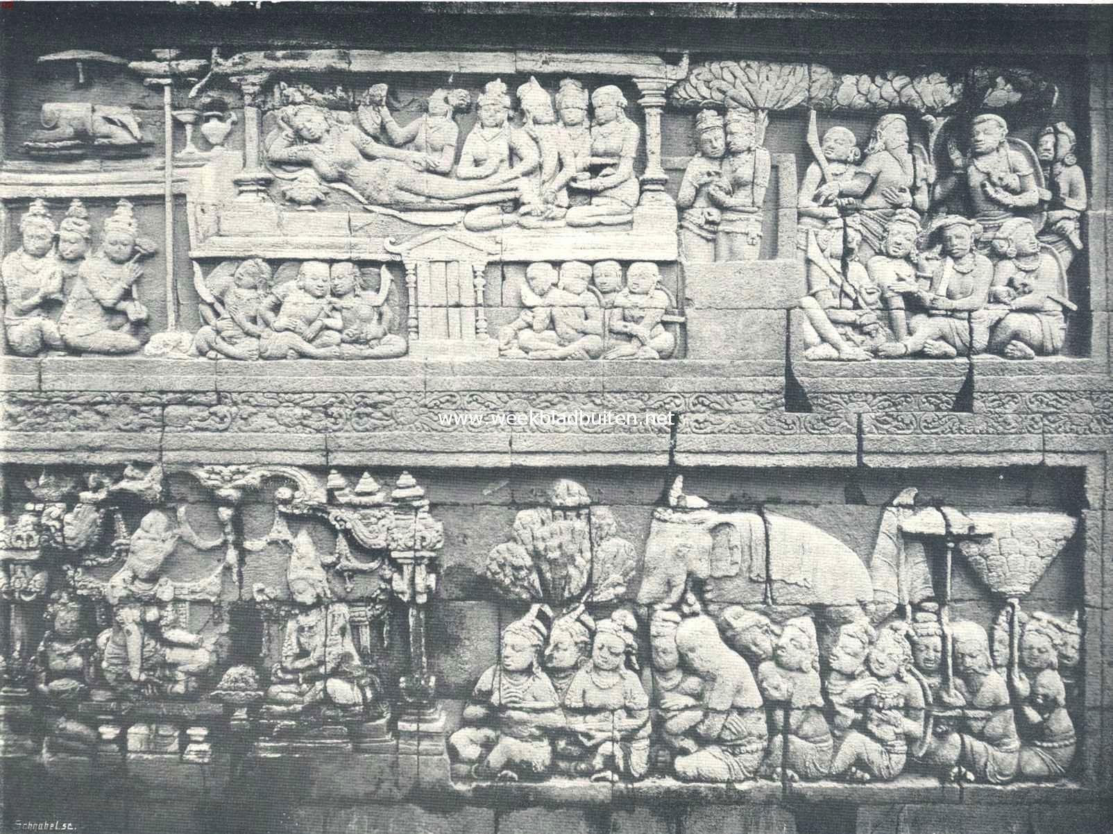 De Boroboedoer. Een der dubbele reliëfs op de eerste galerij 1