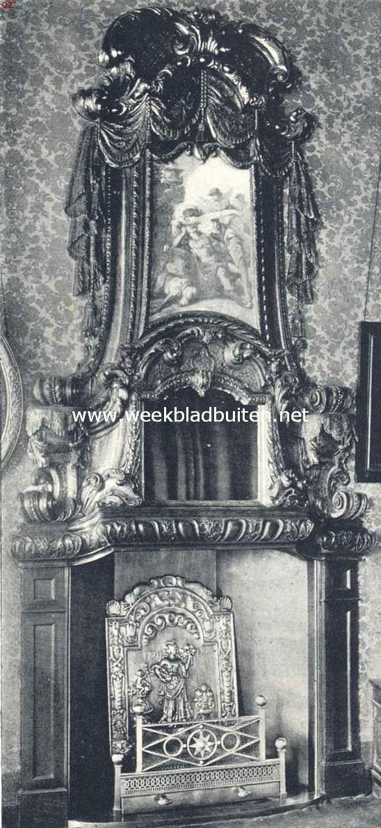 Groningsche Raadhuizen. Schoorsteen in de vergaderzaal van B. en W. in het Raadhuis te Groningen