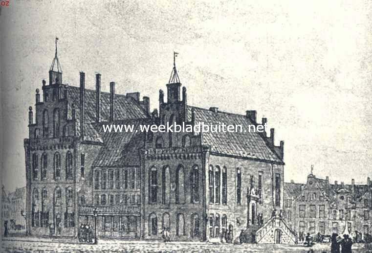 Groningsche Raadhuizen. Het oude Raadhuis te Groningen, met het daaraan verbonden Wijnhuis, gezien van het Noorden. Links het Wijnhuis, beide gebouwen zijn in 1773 afgebroken