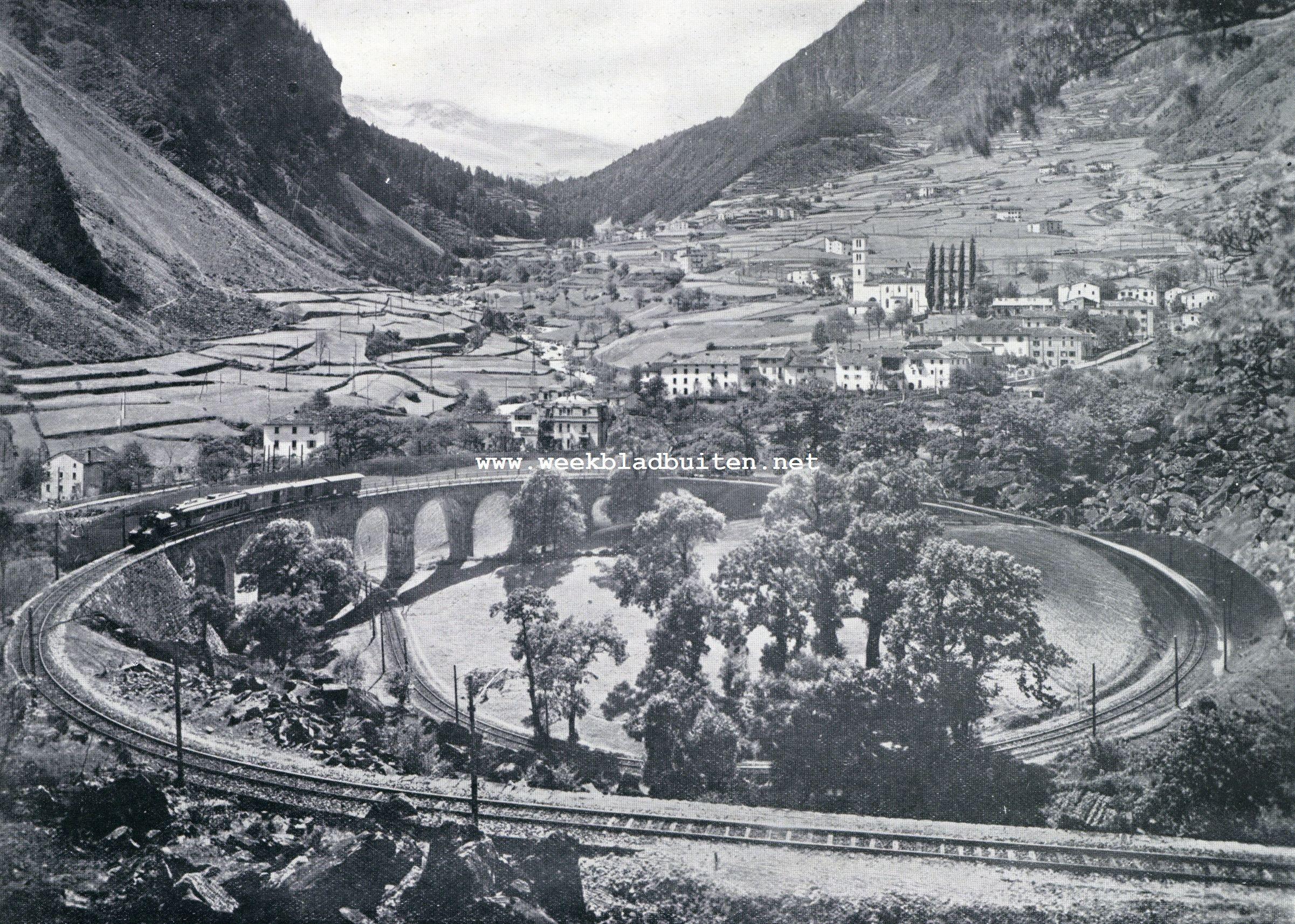 Bernina-betoovering. De cirkelvormige bocht van den Bernina-spoorweg bij Brusio